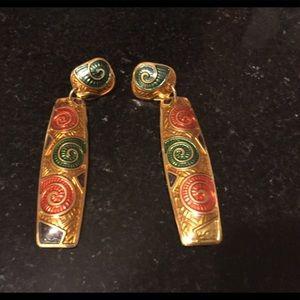 Edgar Berebi Enamel Earrings gold tone